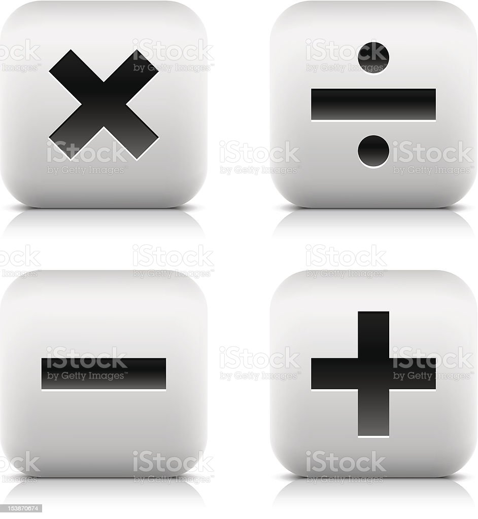 Calculator icons. Rounded square gray button black sign royalty-free stock vector art