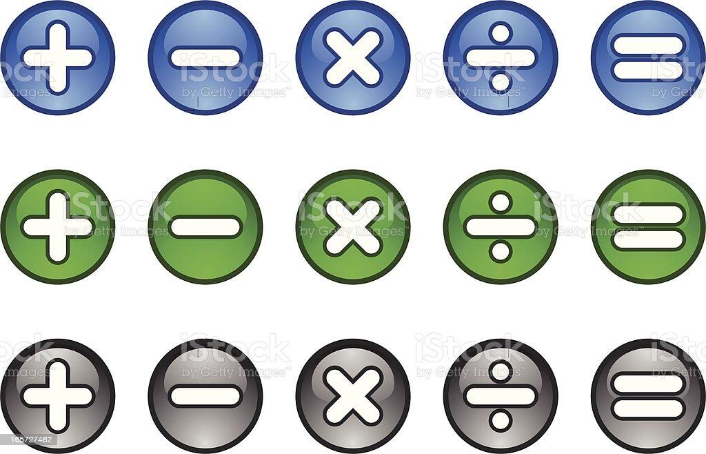 Calculator Maths symbols icon buttons plus minus multiply divide equals vector art illustration