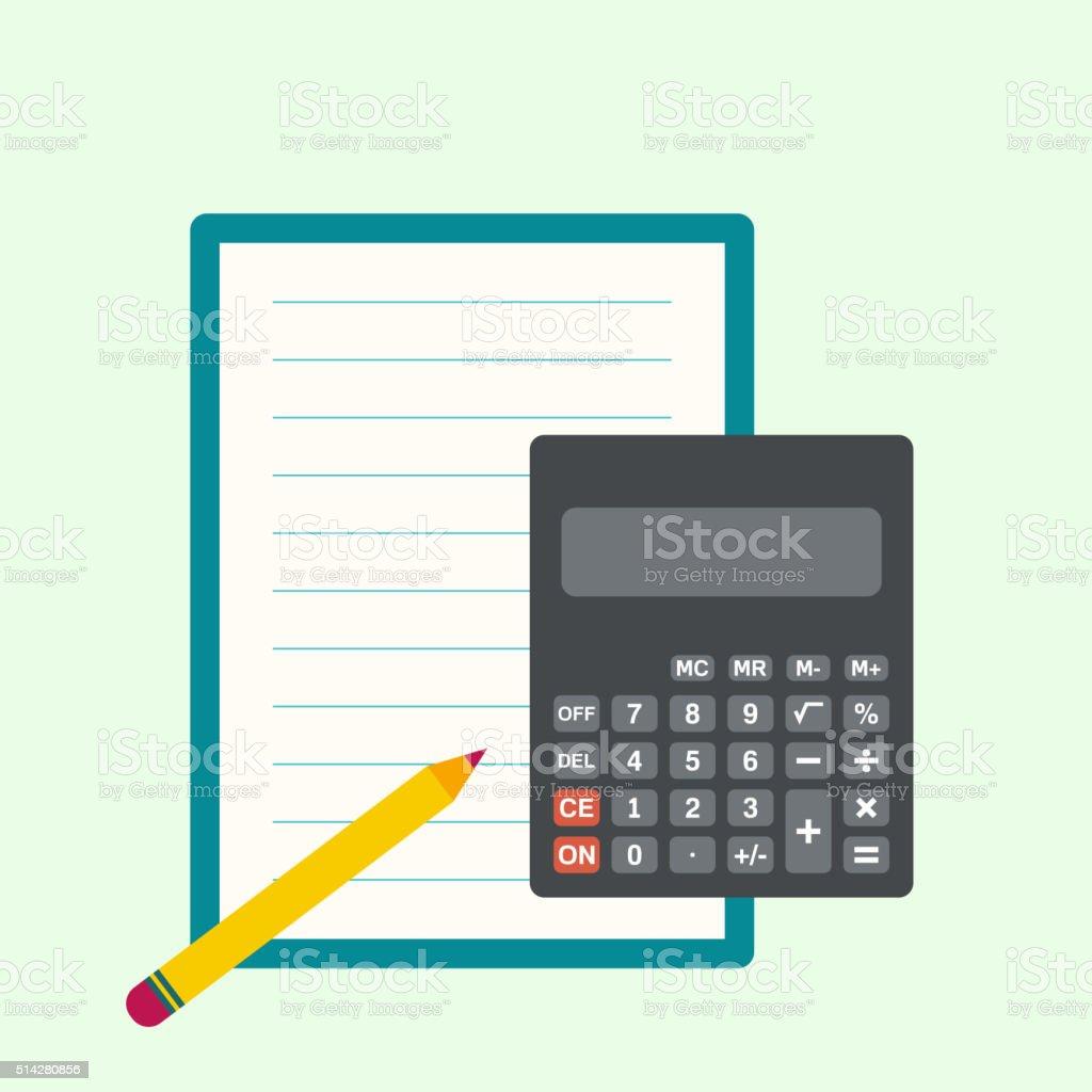 Calculator, sheets of paper vector art illustration