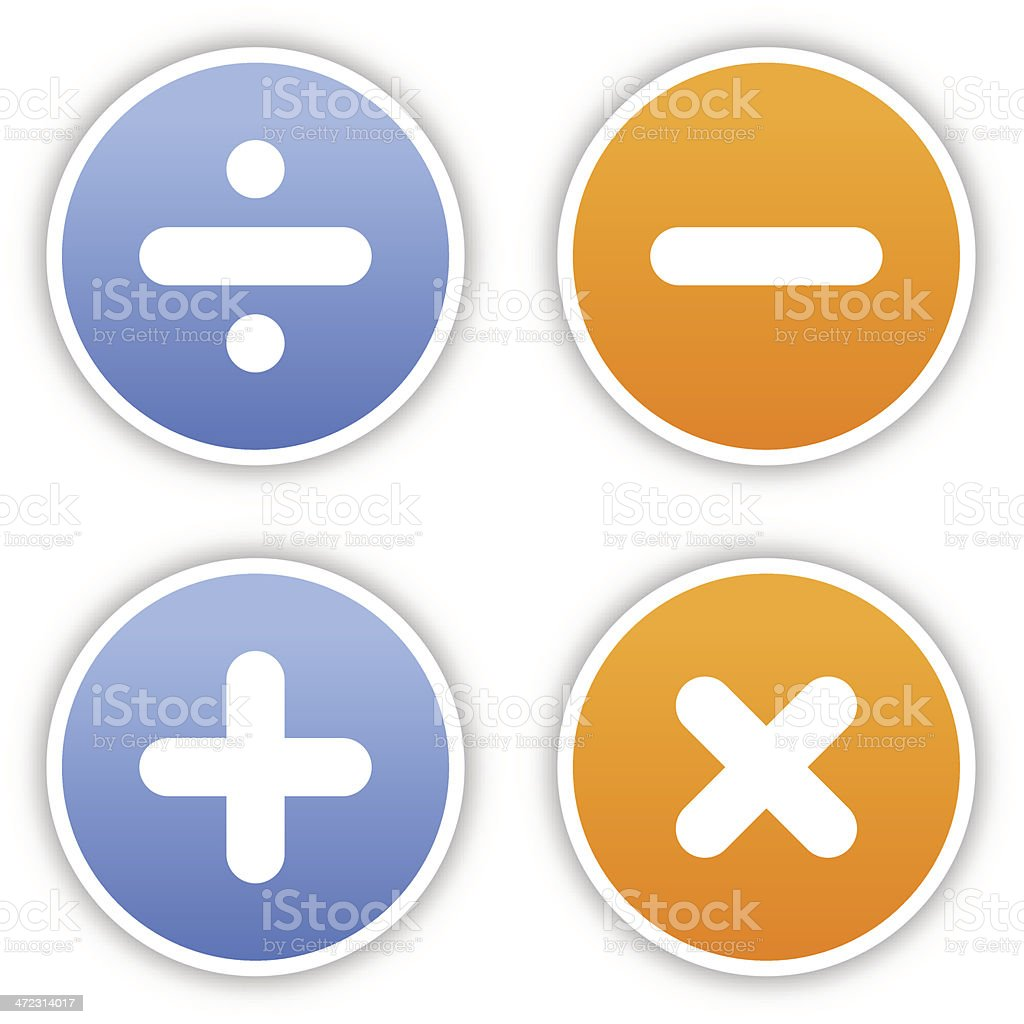 Calculator sticker round label satin icon web button shadow royalty-free stock vector art