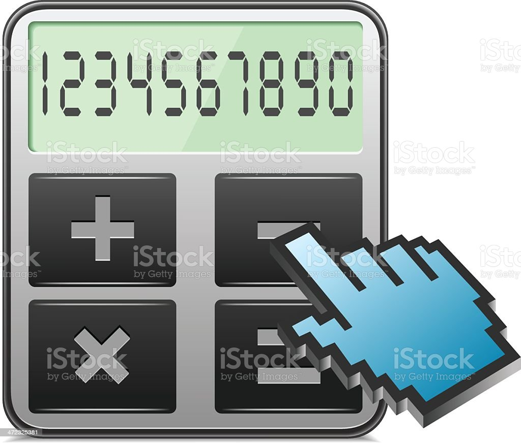 Calculator with hand curser royalty-free stock vector art