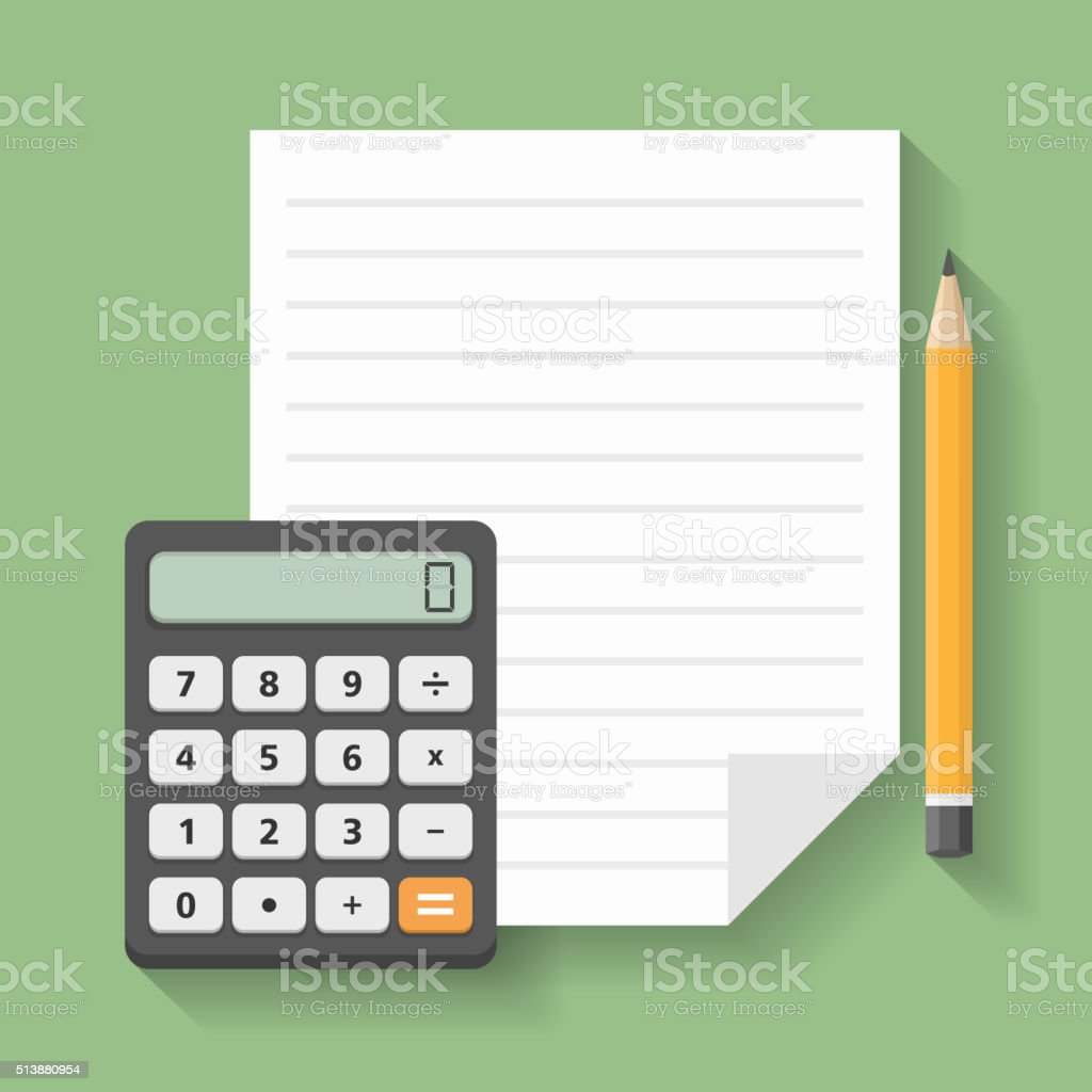 Calculator with Paper and Pencil vector art illustration