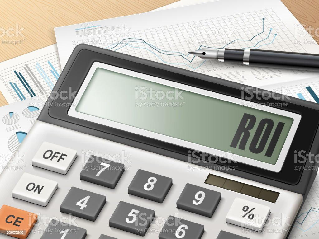 calculator with the word ROI vector art illustration
