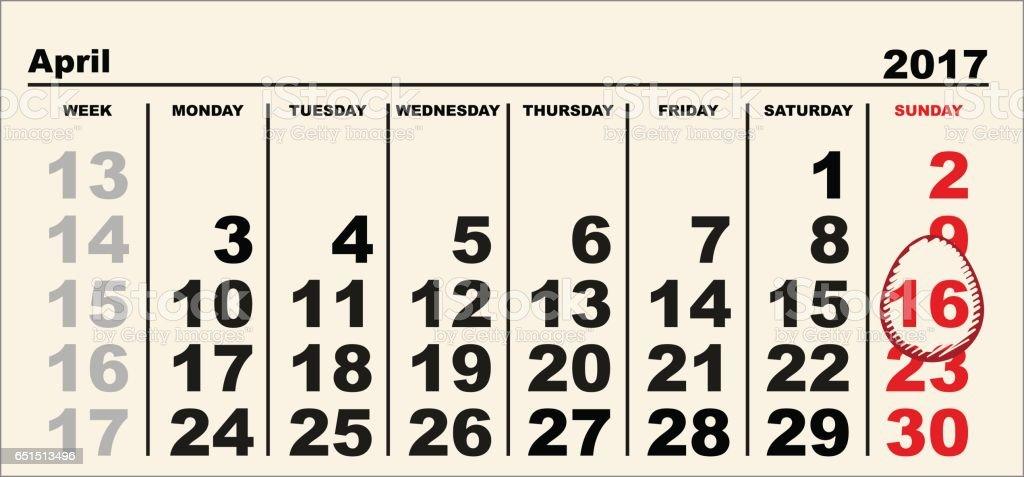 Calendar 16 April 2017 Easter. Egg shape reminder date vector art illustration