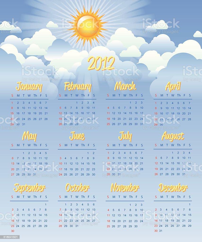Calendar 2012 vector art illustration