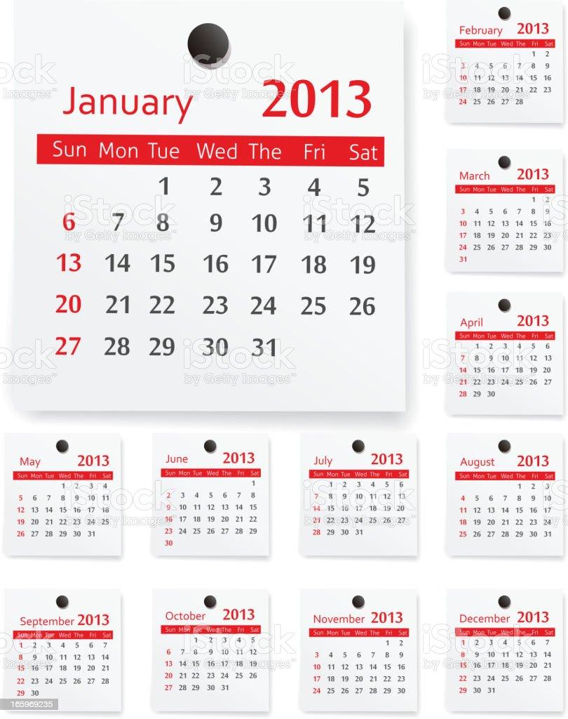 Calendar 2013 royalty-free stock vector art