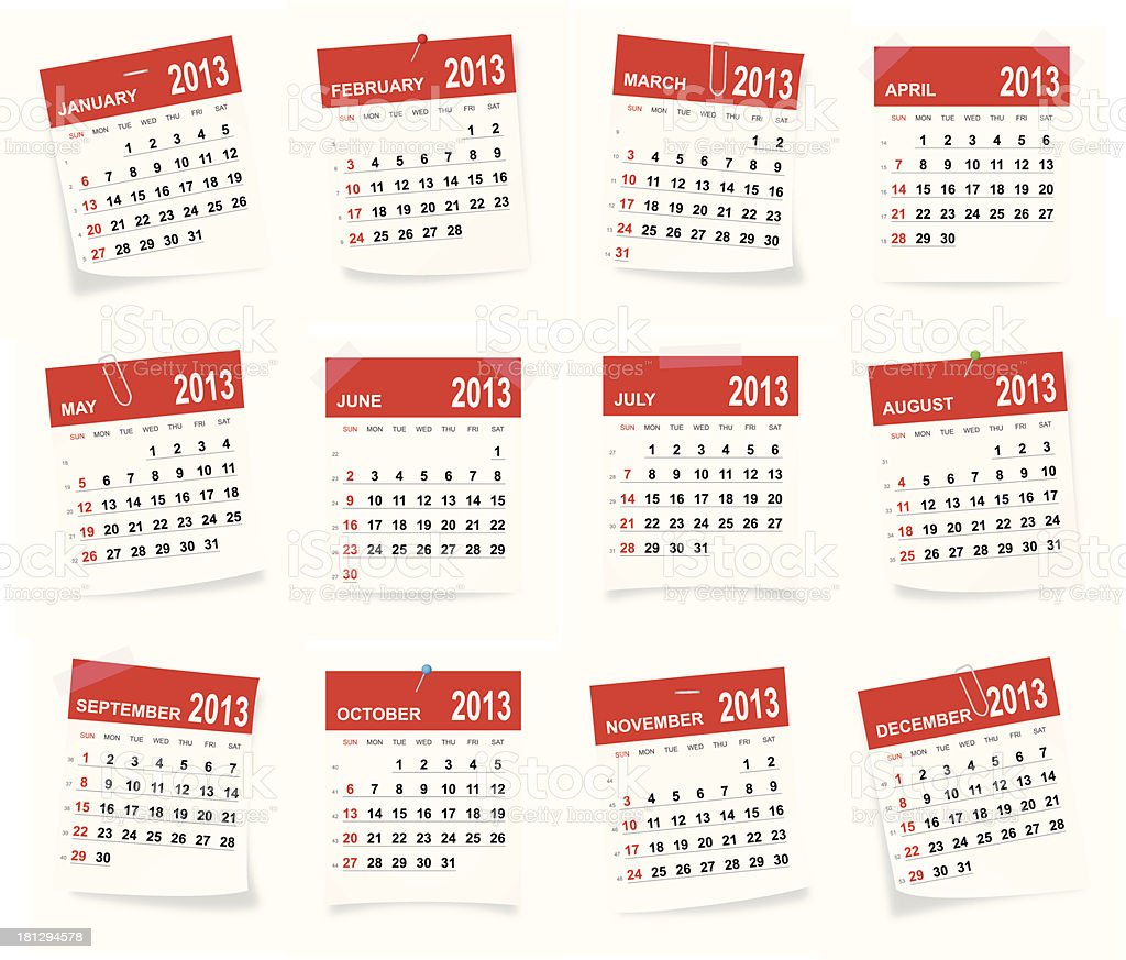 Calendar 2013 royalty-free stock vector art