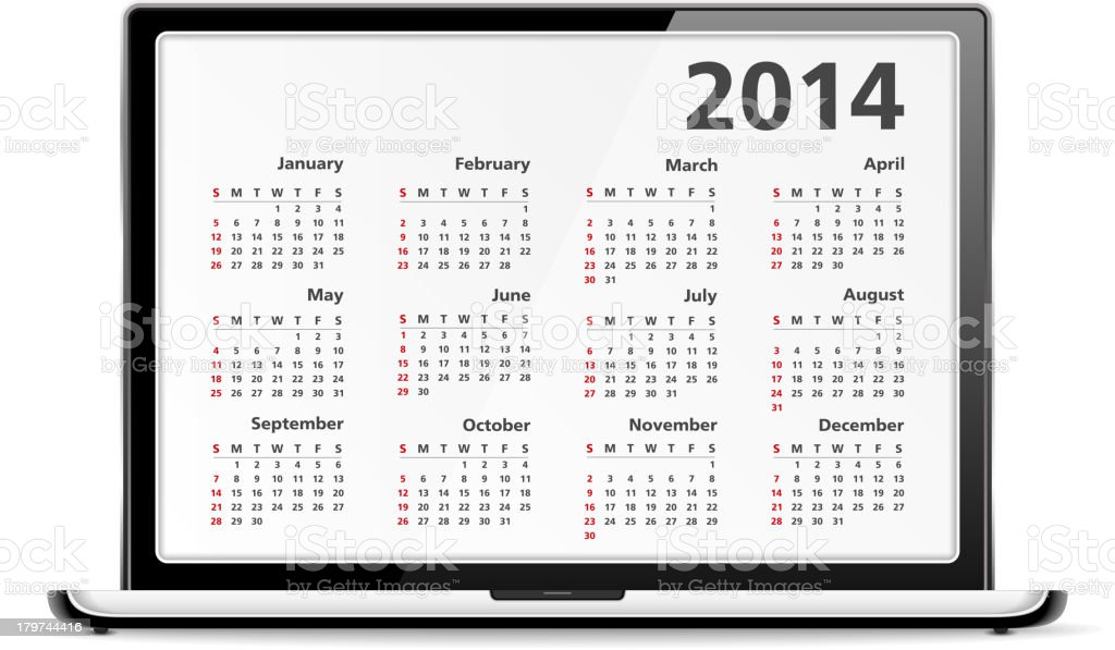 Calendar 2014 in Laptop royalty-free stock vector art