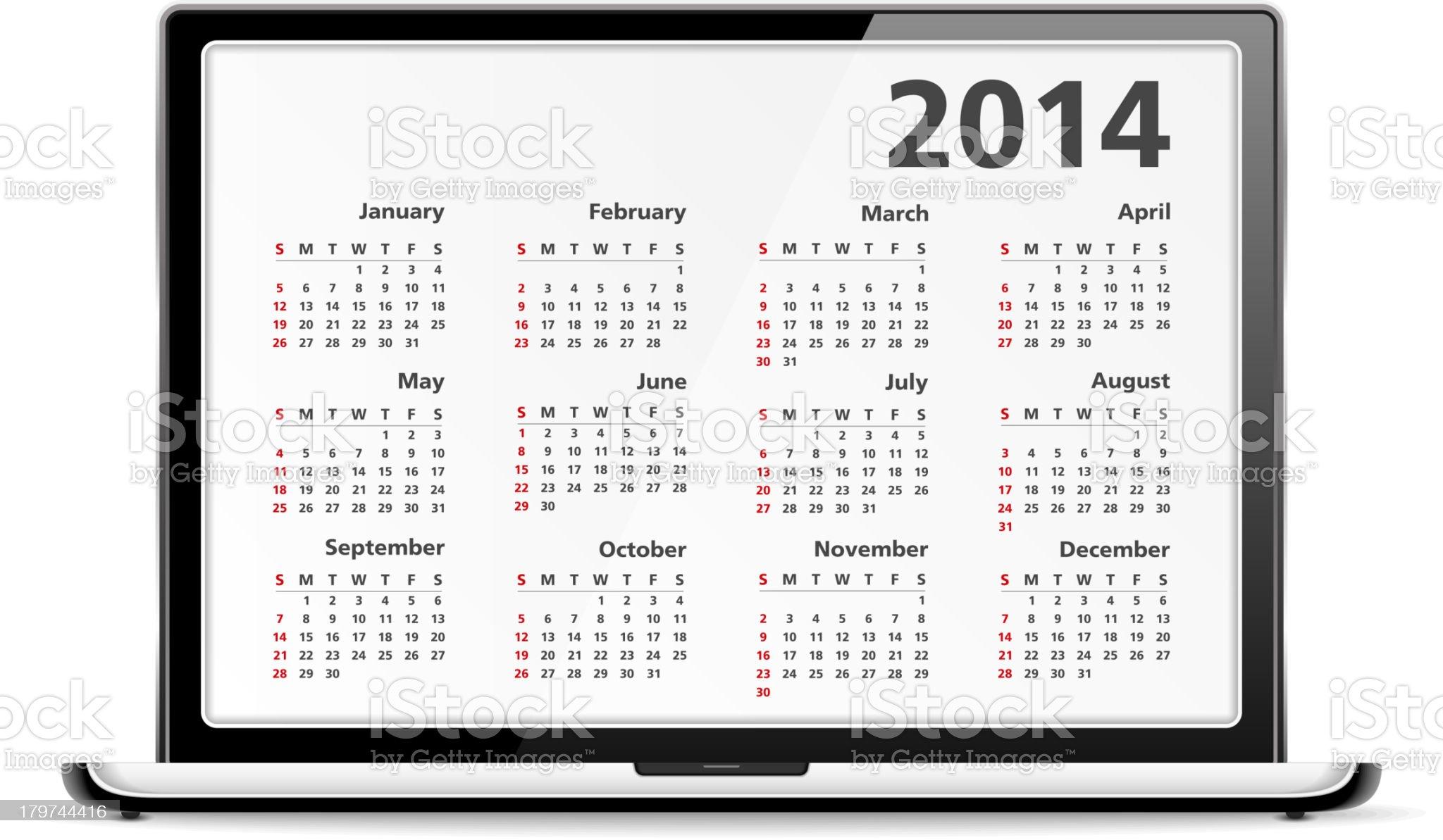 Calendar 2014 in Laptop royalty-free stock vector art