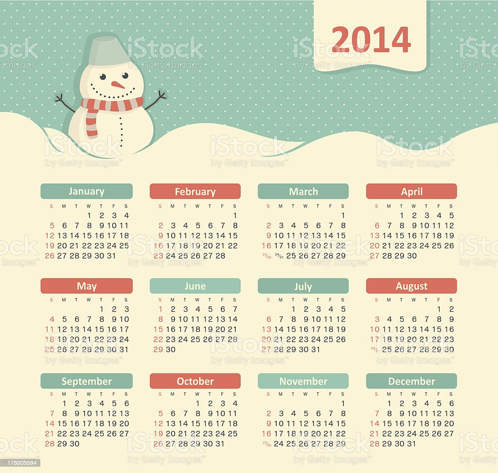 calendar 2014 royalty-free stock vector art