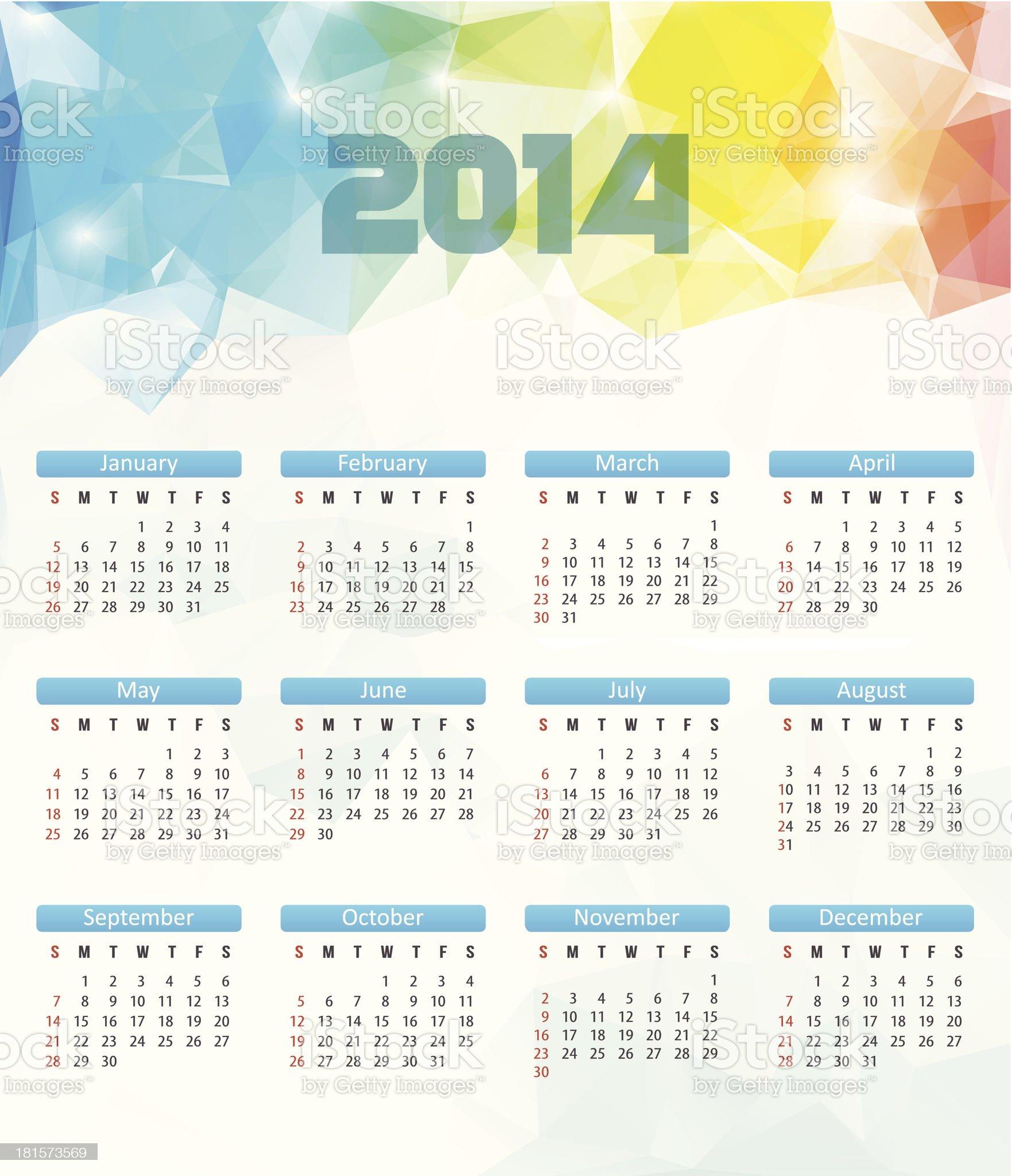 Calendar 2014. Vector. Polygonal Illustration royalty-free stock vector art