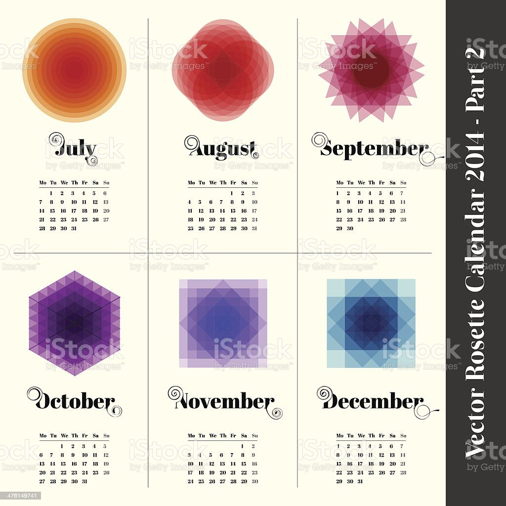 Calendar 2014 with colorful rosette part 2 royalty-free stock vector art