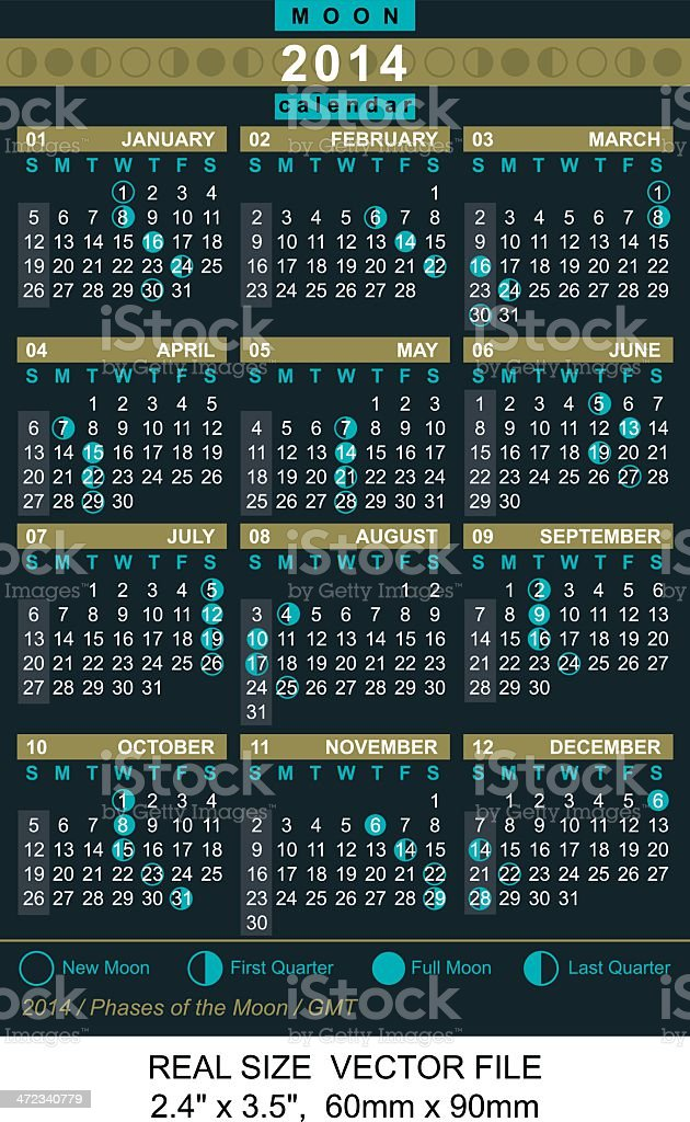 calendar 2014 with Phases of the moon/ GMT royalty-free stock vector art