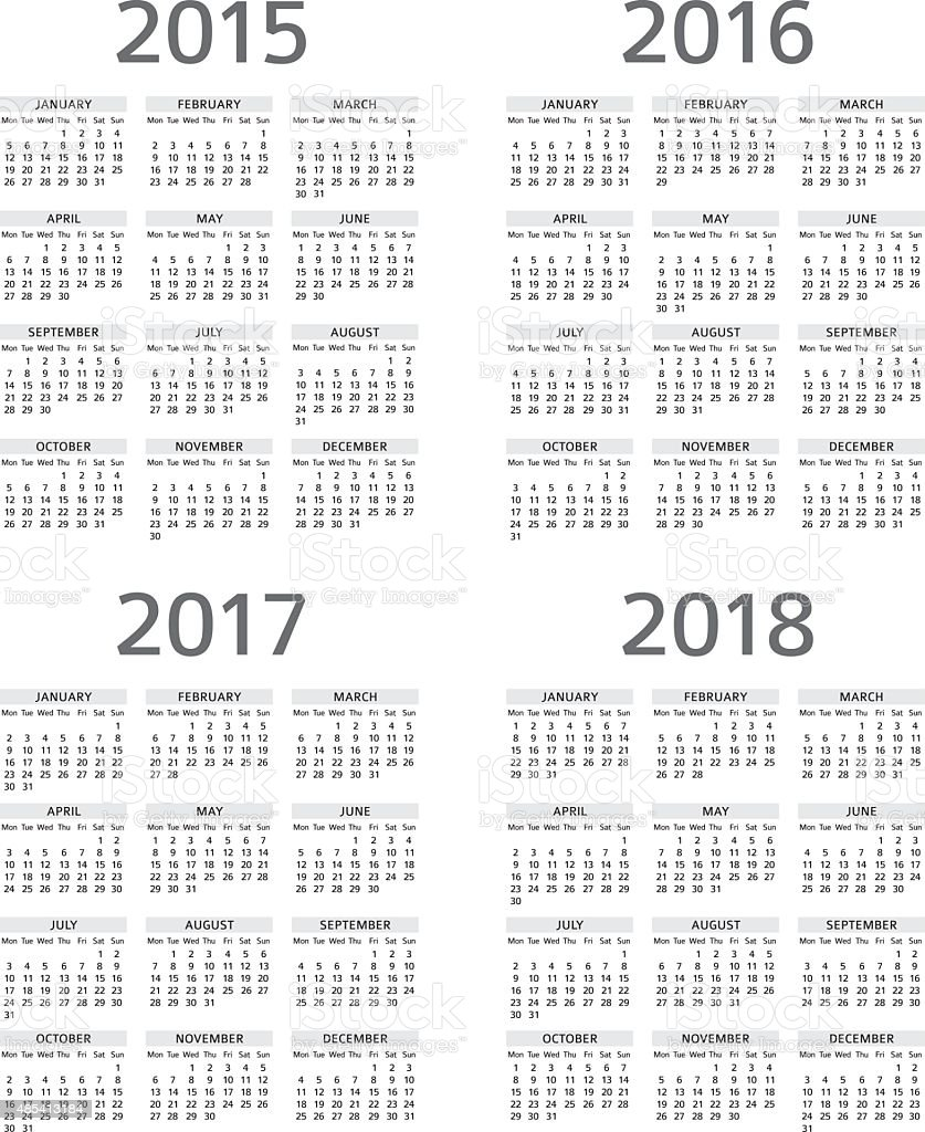 Calendar 2015 2016 2017 208 - illustration vector art illustration