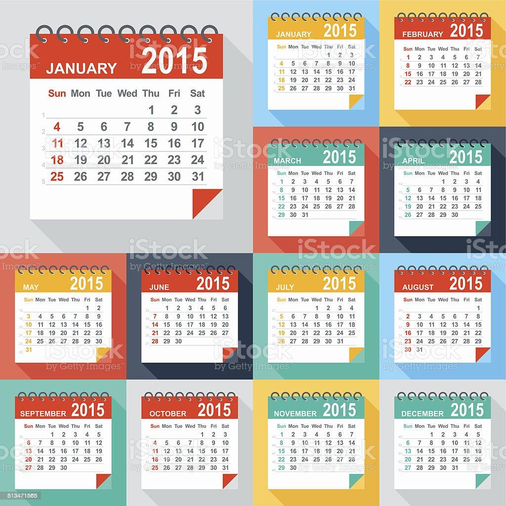 Calendar 2015 - Illustration vector art illustration