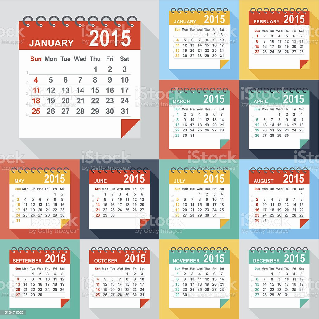 Calendar 2015 - Illustration vector art illustration