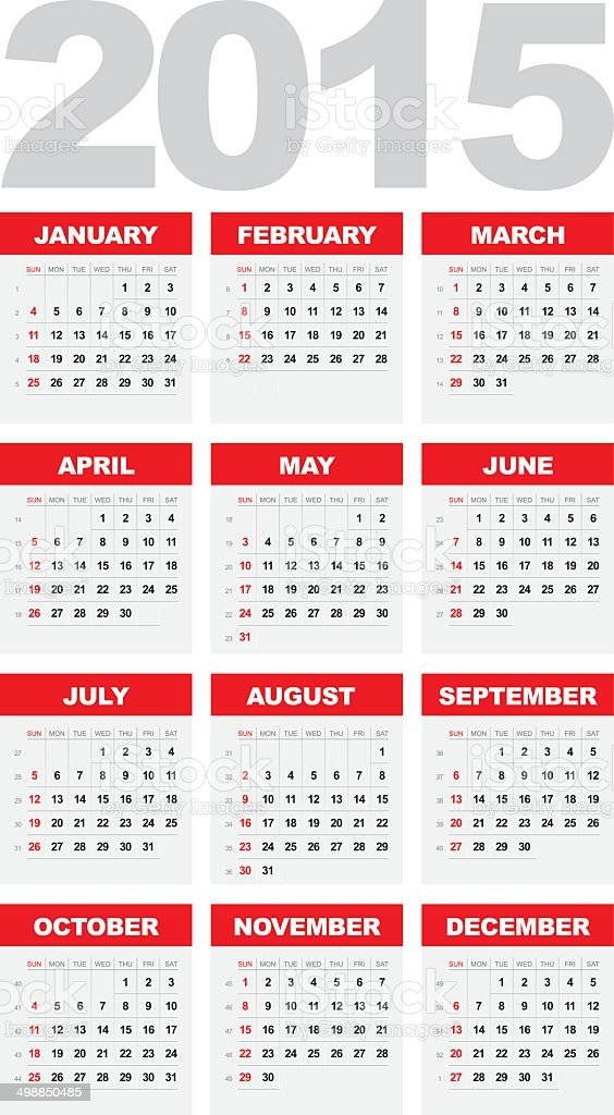 Calendar 2015 vector art illustration