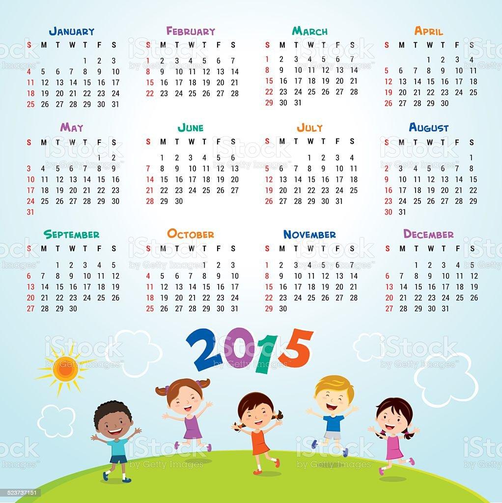 Calendar 2015. vector art illustration