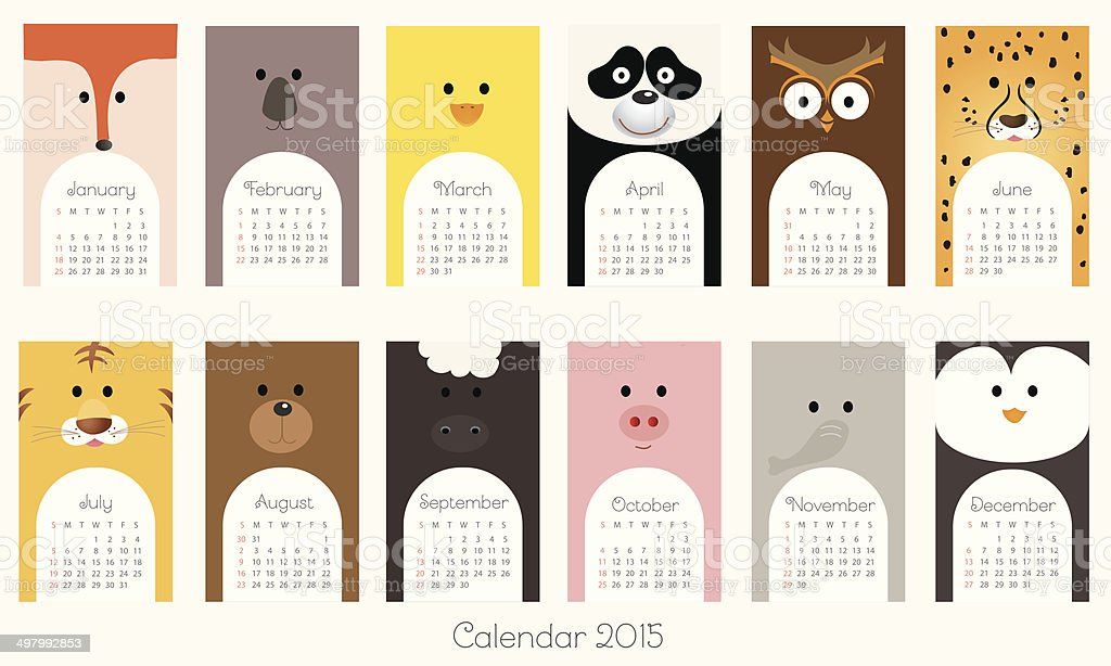 Calendar 2015 with animals - Illustration royalty-free stock vector art