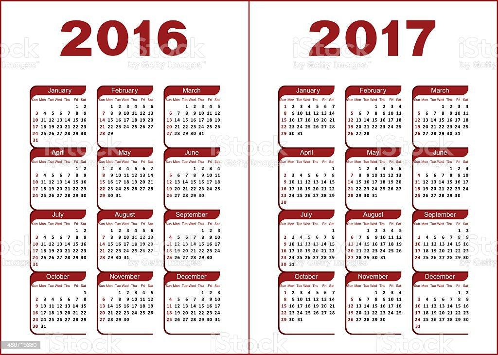 Calendar 2016, 2017 vector art illustration