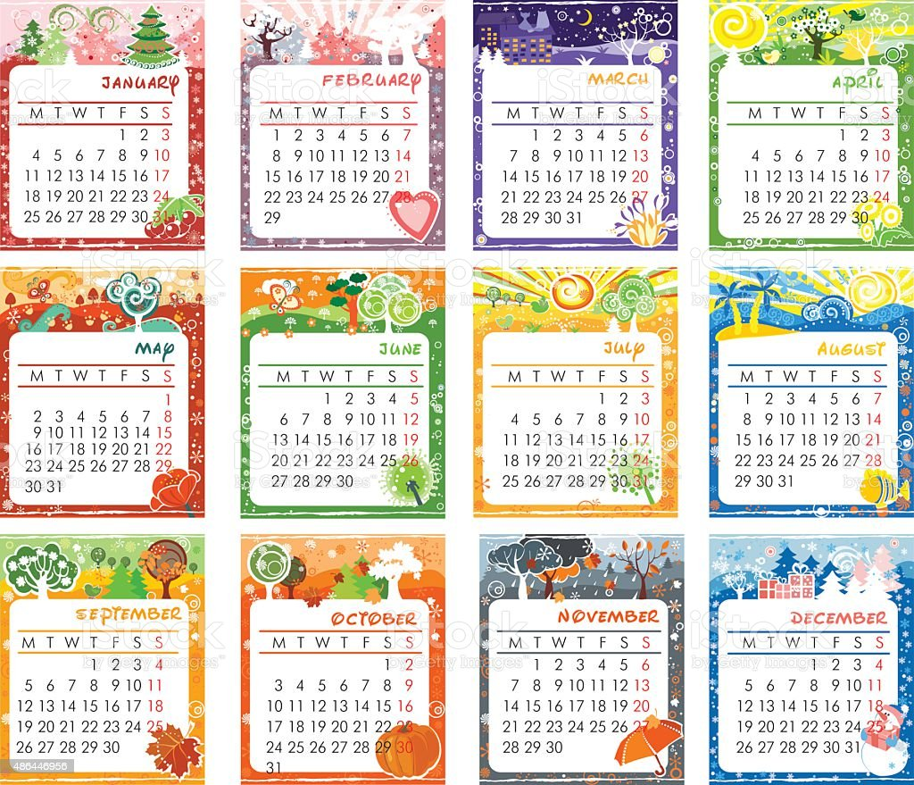 Calendar 2016 design vector art illustration