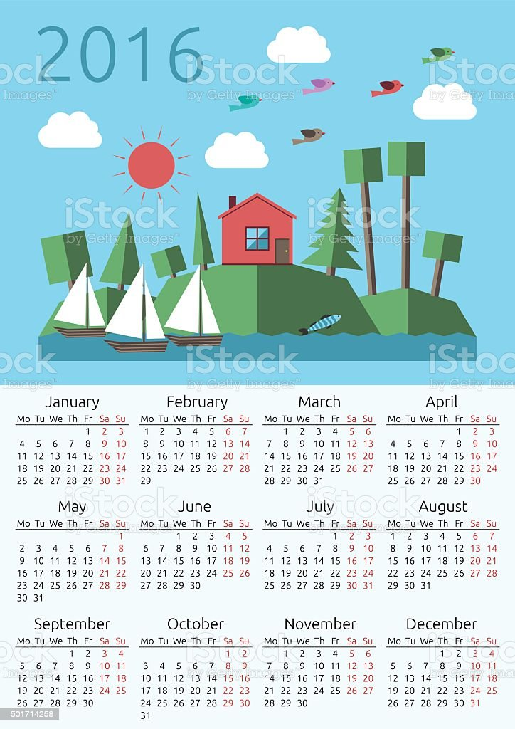 Calendar 2016, house, landscape vector art illustration