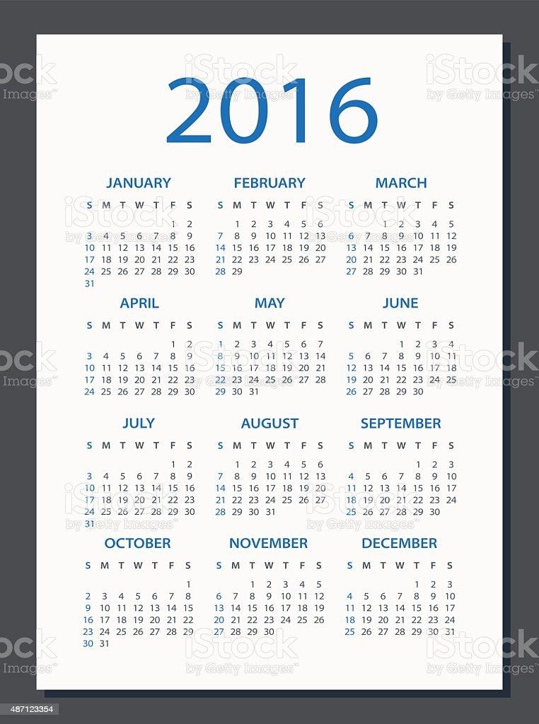Calendar 2016 - illustration vector art illustration