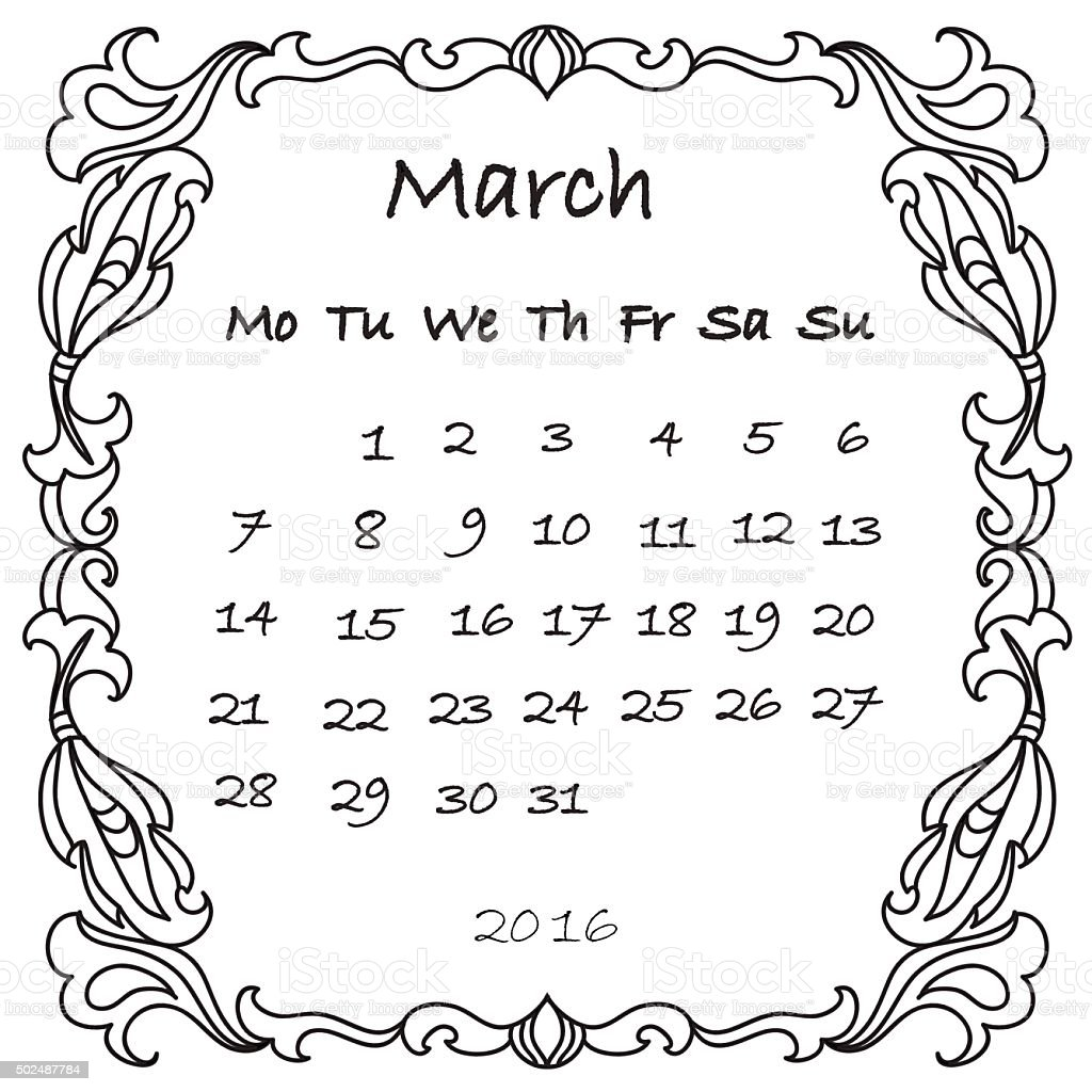 calendar 2016 march coloring page stock vector art 502487784 istock