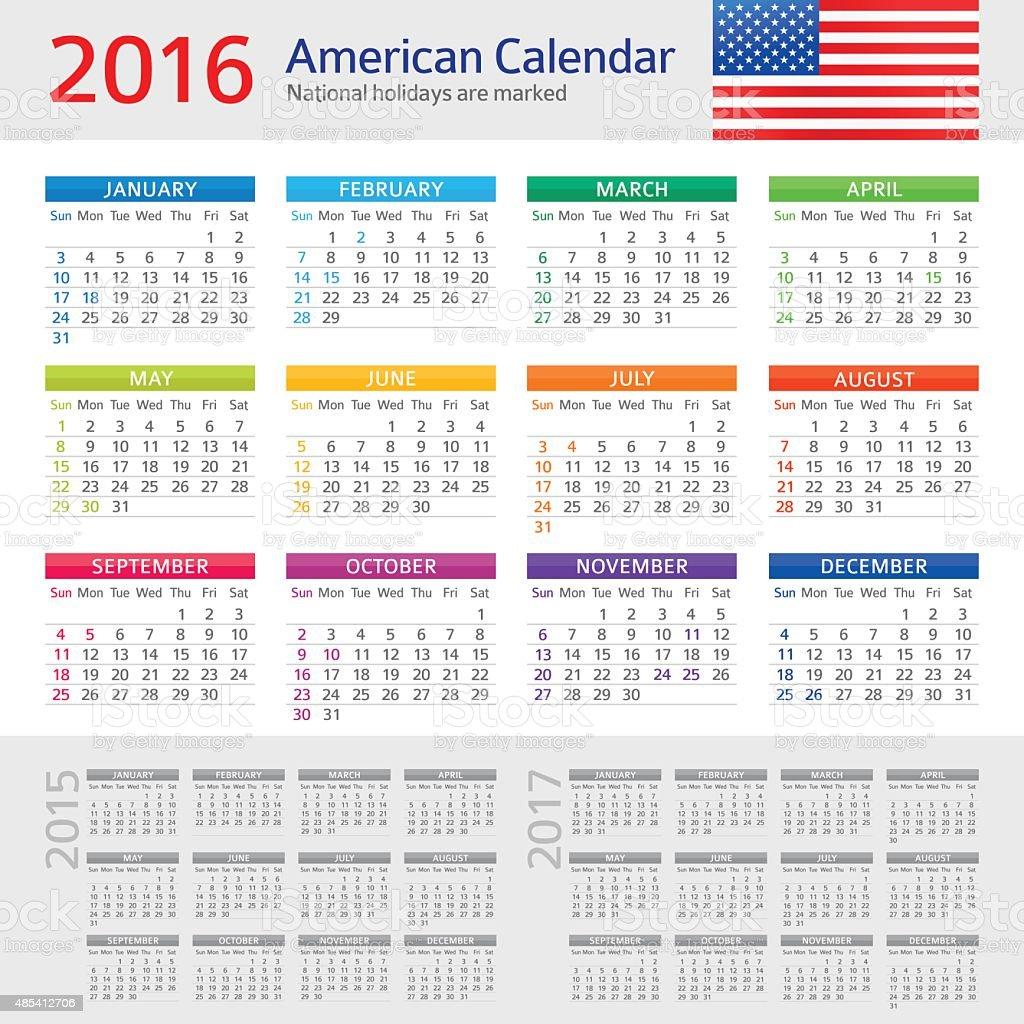 USA Calendar 2016 vector art illustration