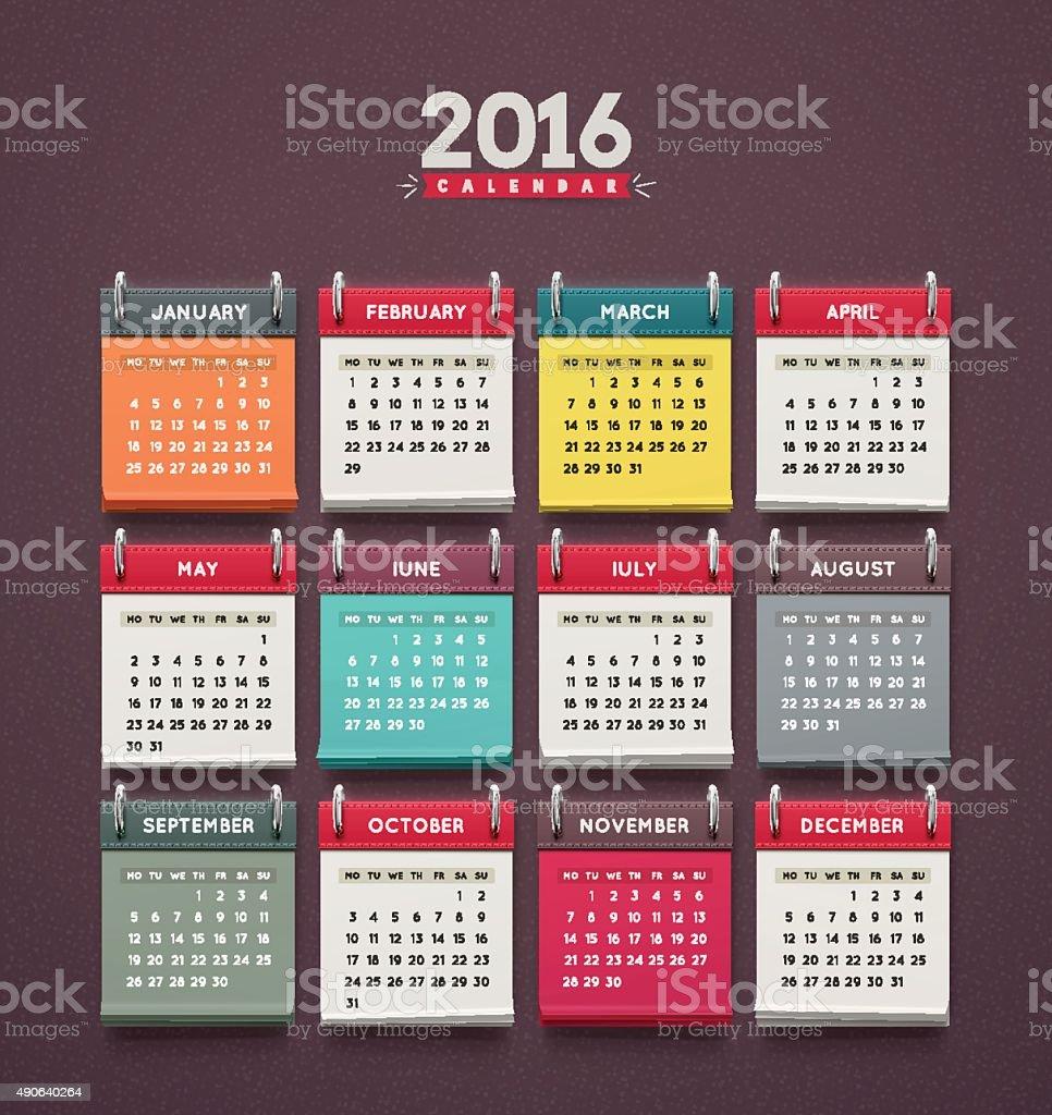 Calendar 2016 vector art illustration