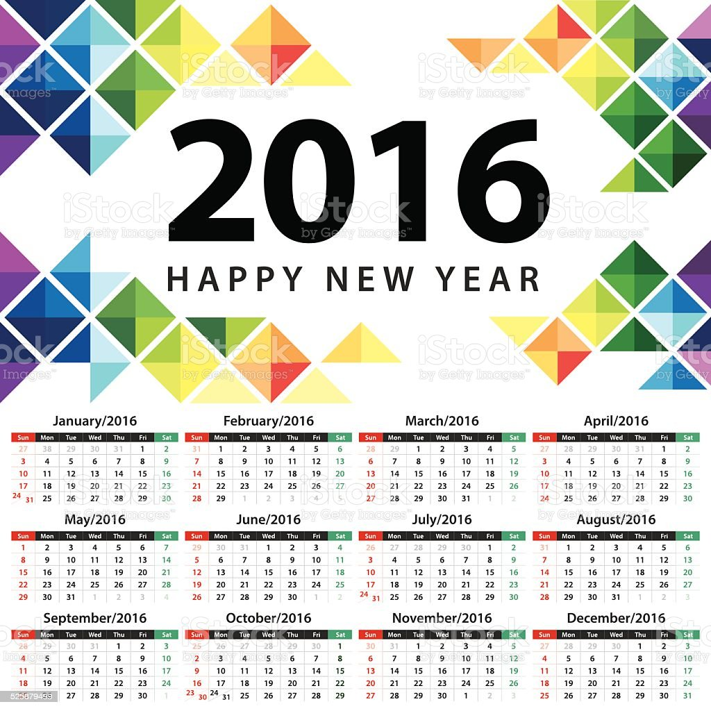 Calendar 2016 vector art illustration