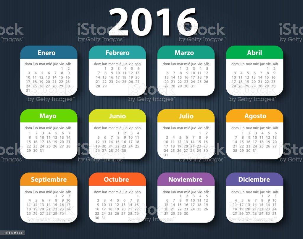 Calendar 2016 year vector design template in Spanish vector art illustration
