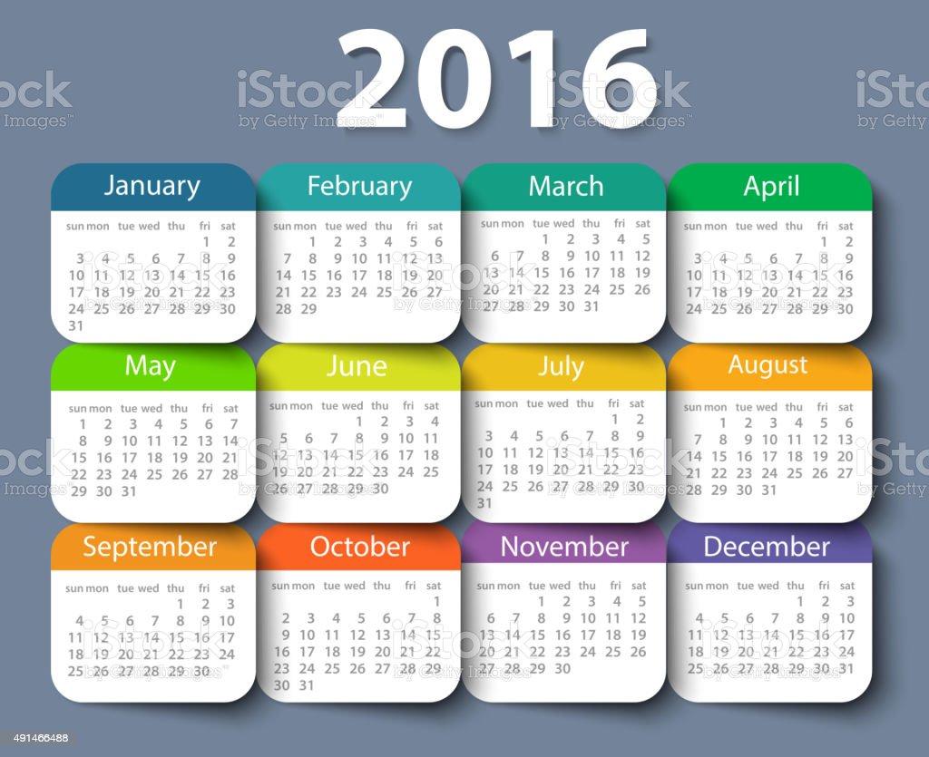Calendar 2016 year vector design template vector art illustration