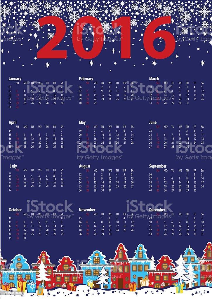 Calendar 2016 year.Little town,winter night vector art illustration