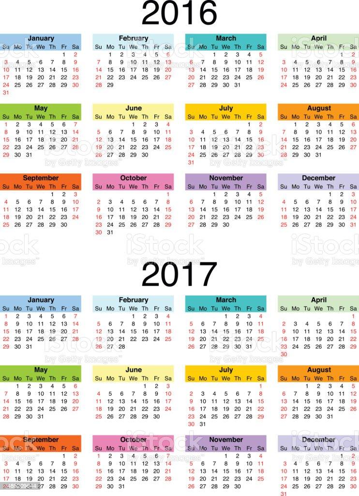 Calendar 2016-2017 vector art illustration