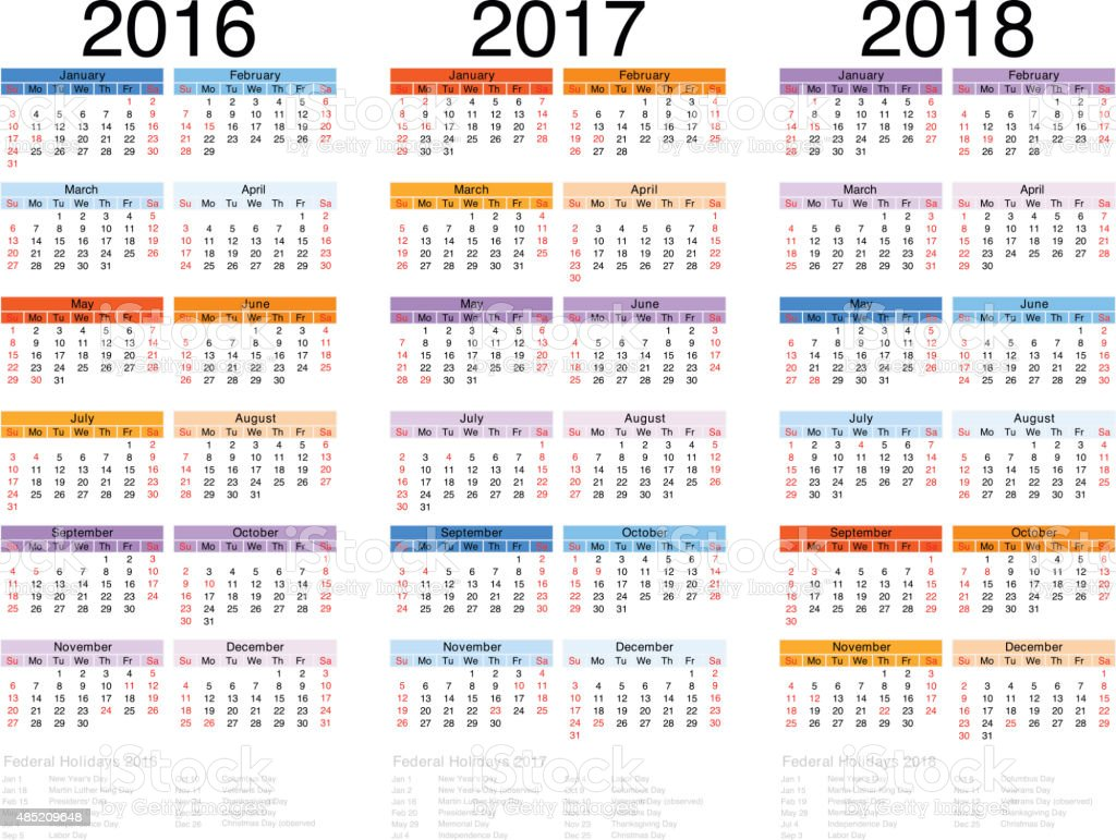 Calendar 2016-2017-2018 vector art illustration