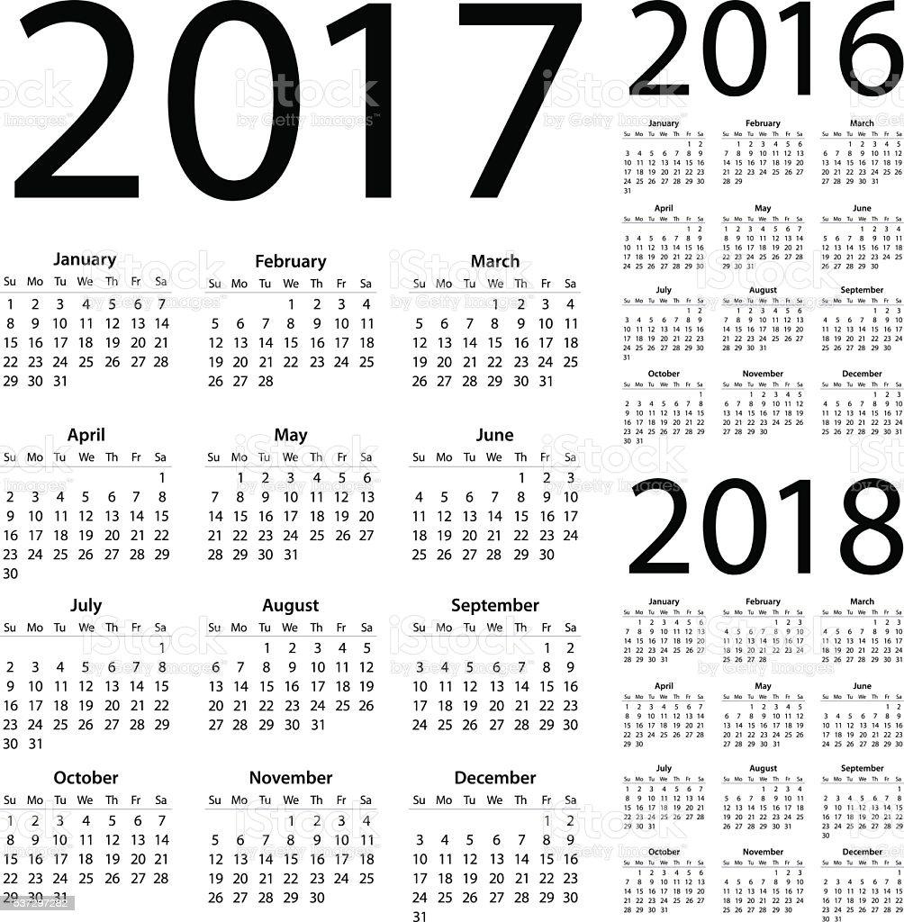 Calendar 2017 2016 2018