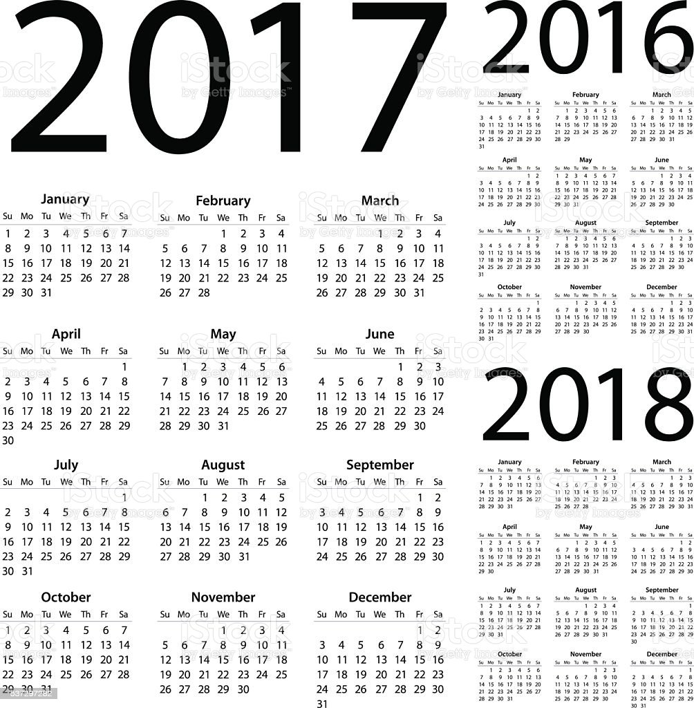 Calendar 2017 2016 2018 - illustration vector art illustration