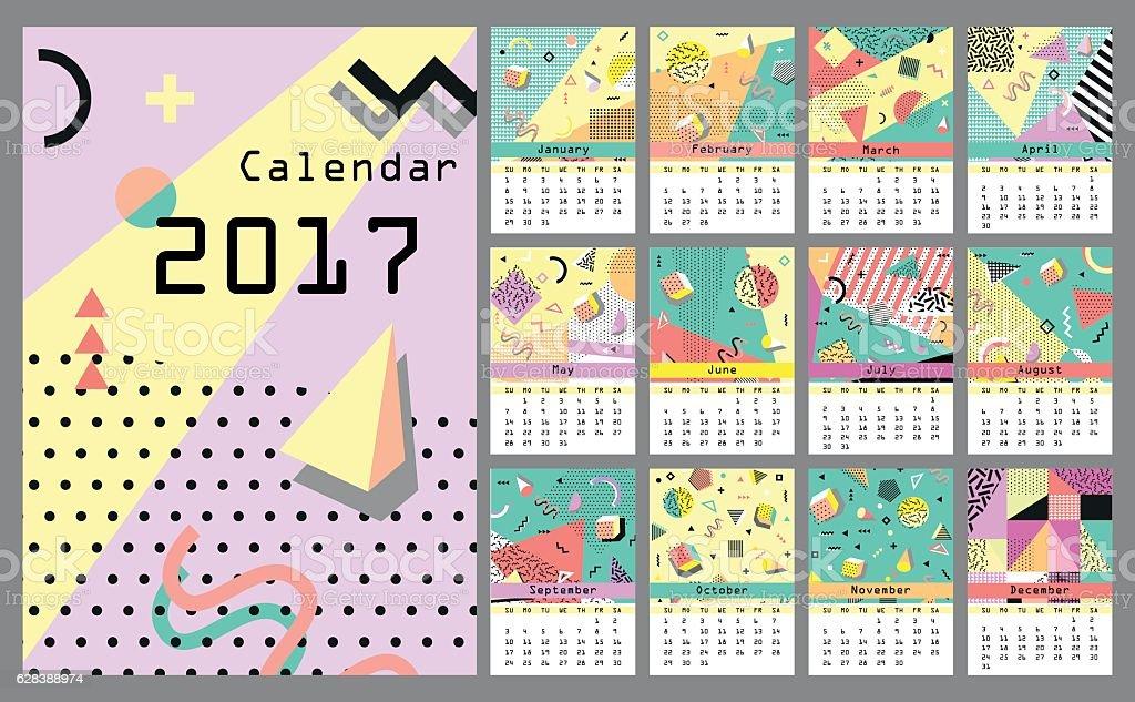 Calendar 2017. All 12 month. Retro vintage 80s or 90s vector art illustration