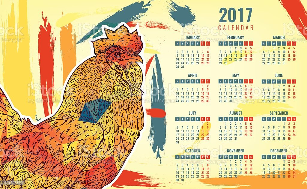 Calendar 2017. Colorful rooster the symbol of the New year royalty-free stock vector art