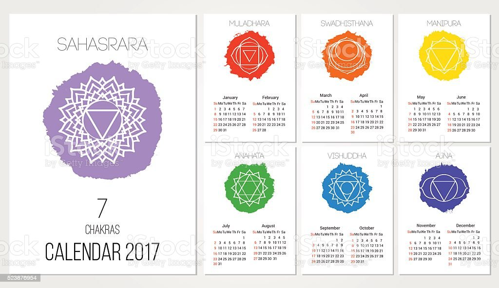 Calendar 2017 design template with 7 chakras set of months vector art illustration