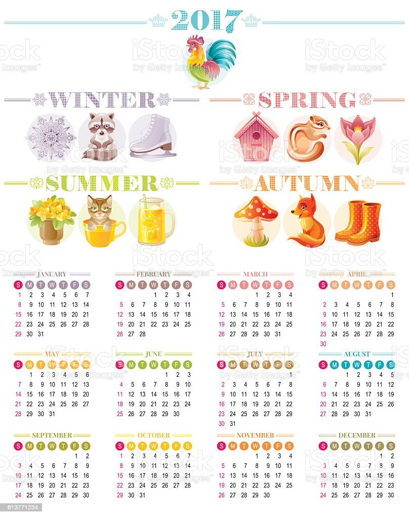 Calendar 2017 icon set vector illustration. Four season Cartoon poster. vector art illustration