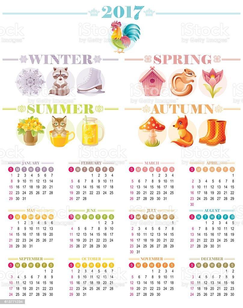 Calendar 2017 icon set vector illustration. Four season Cartoon poster. vector art illustration
