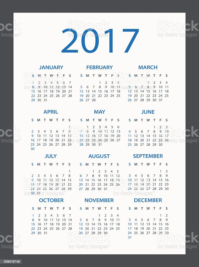 Calendar 2017 - illustration vector art illustration