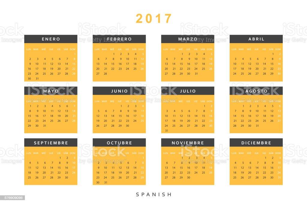 Calendar 2017 in Spanish simple modern. vector art illustration
