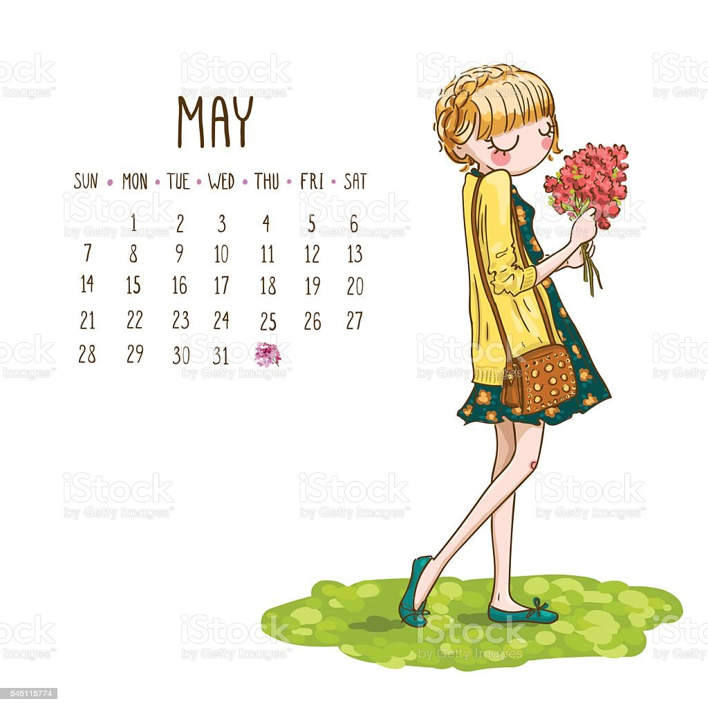 Calendar Month Illustration : Calendar may month season girls design vector