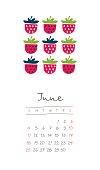Calendar 2017 months June. Week starts Sunday