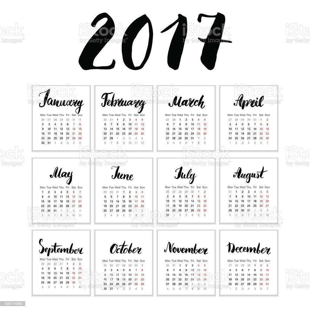 Calendar 2017, Vector Cards with Hand Drawn Month Lettering, vector art illustration