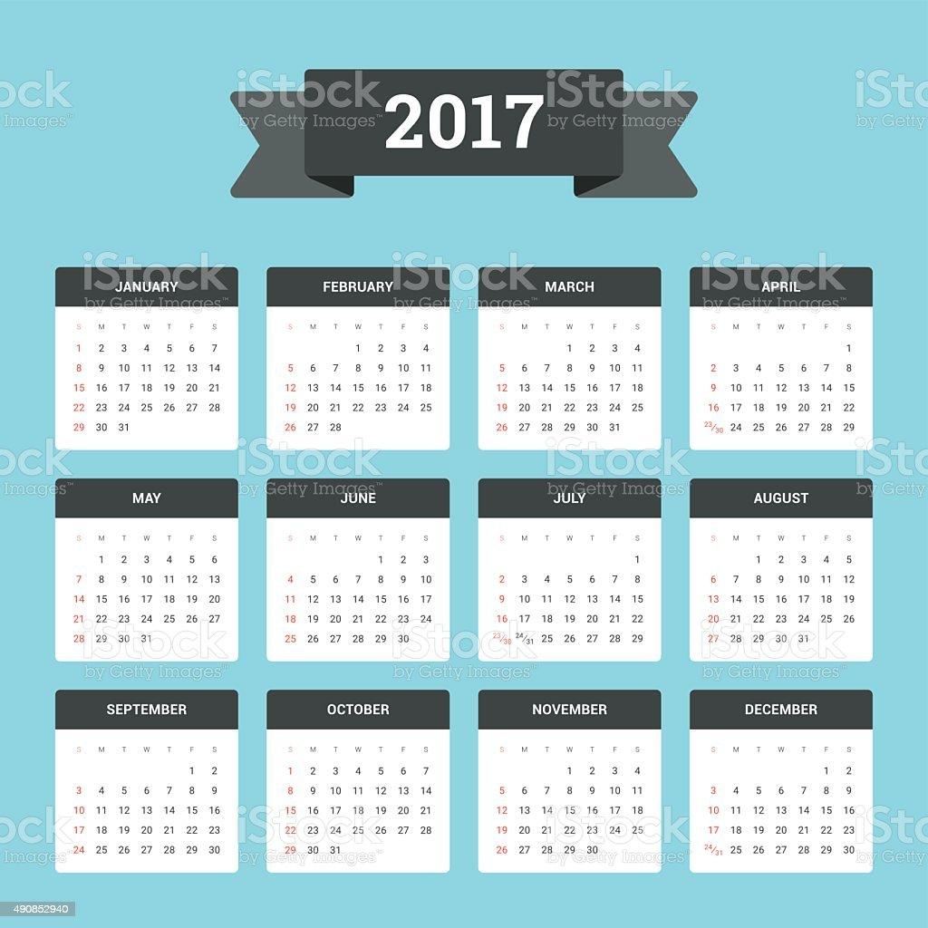 Calendar 2017 vector art illustration