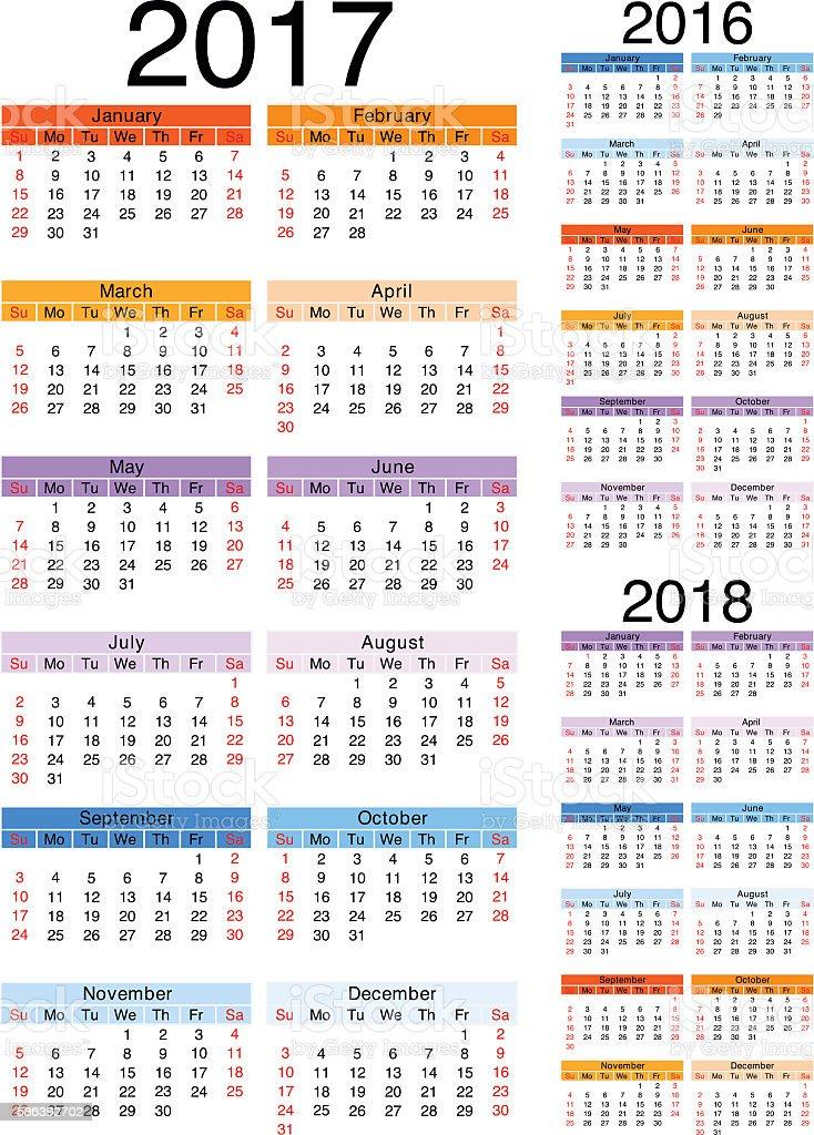 Calendar 2017-2016-2018 vector art illustration